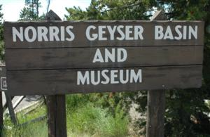 Geyser sign, Yellowstone National Park