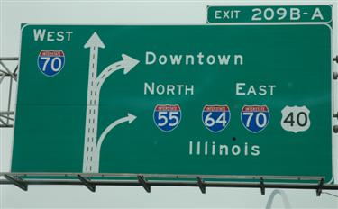 Downtown St. Louis highway sign